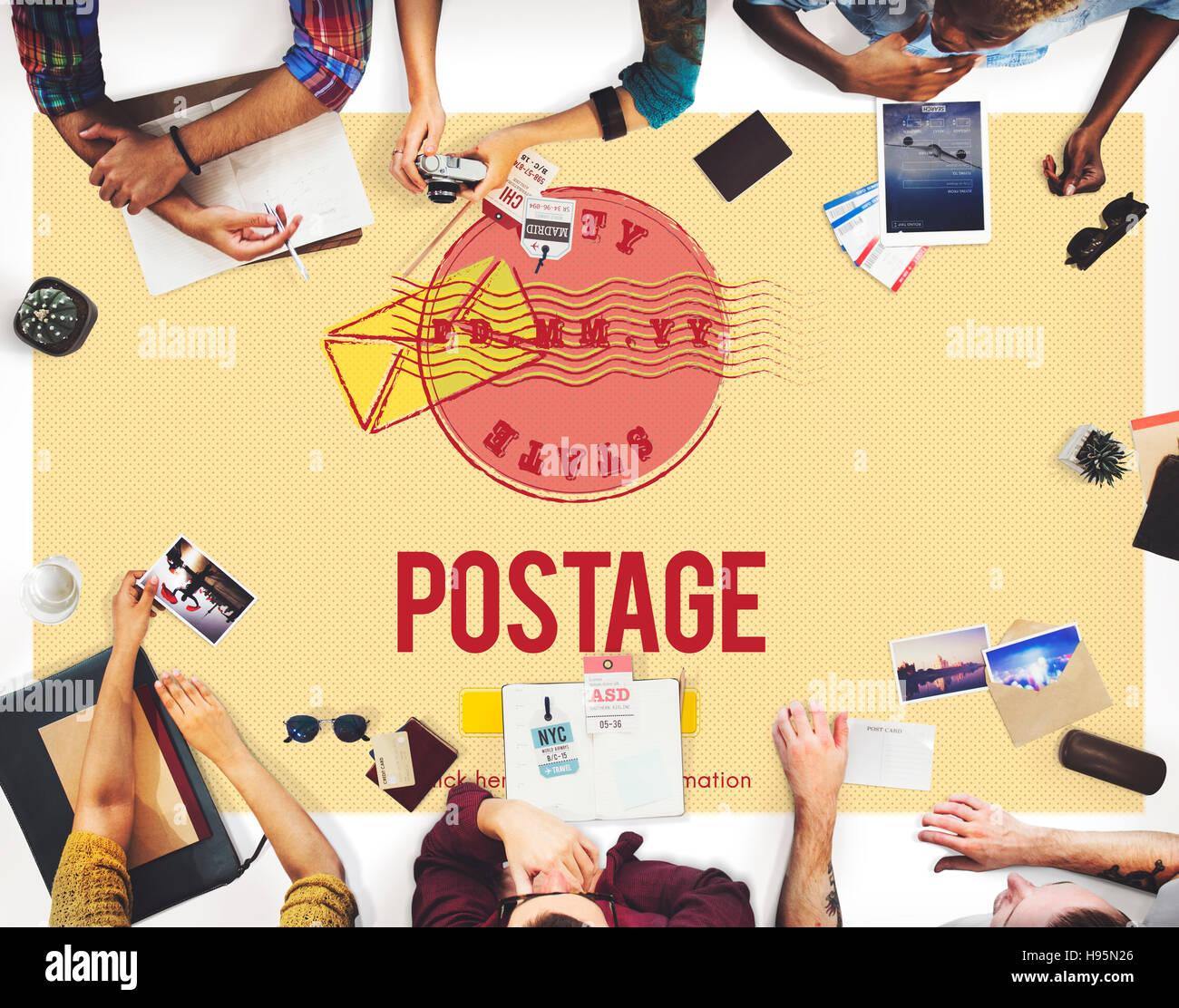 Postage Postal Stamp Delivery Postmark Concept - Stock Image