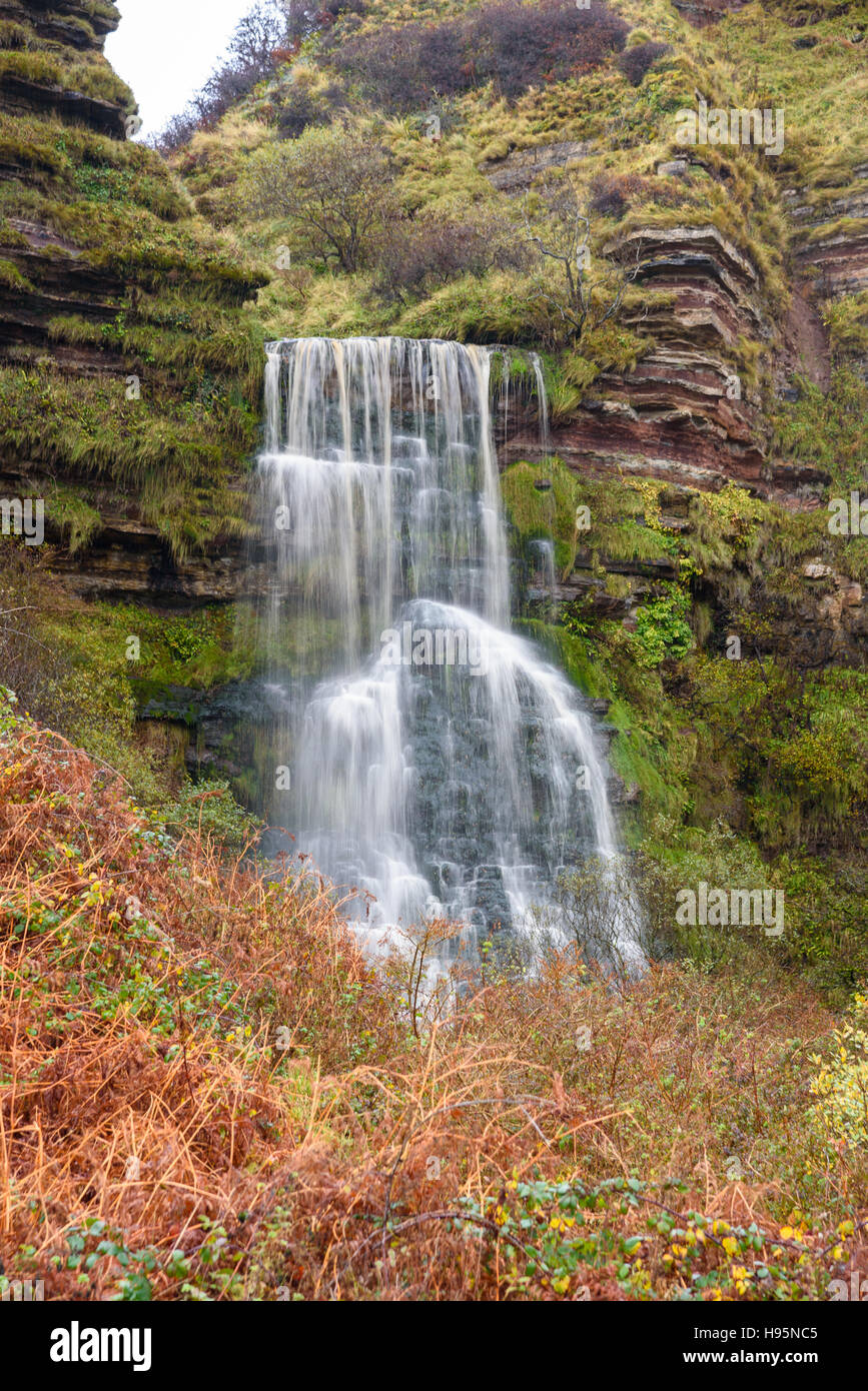 Waterfall near Kildonan shore, Isle of Arran, North Ayrshire, Scotland - Stock Image