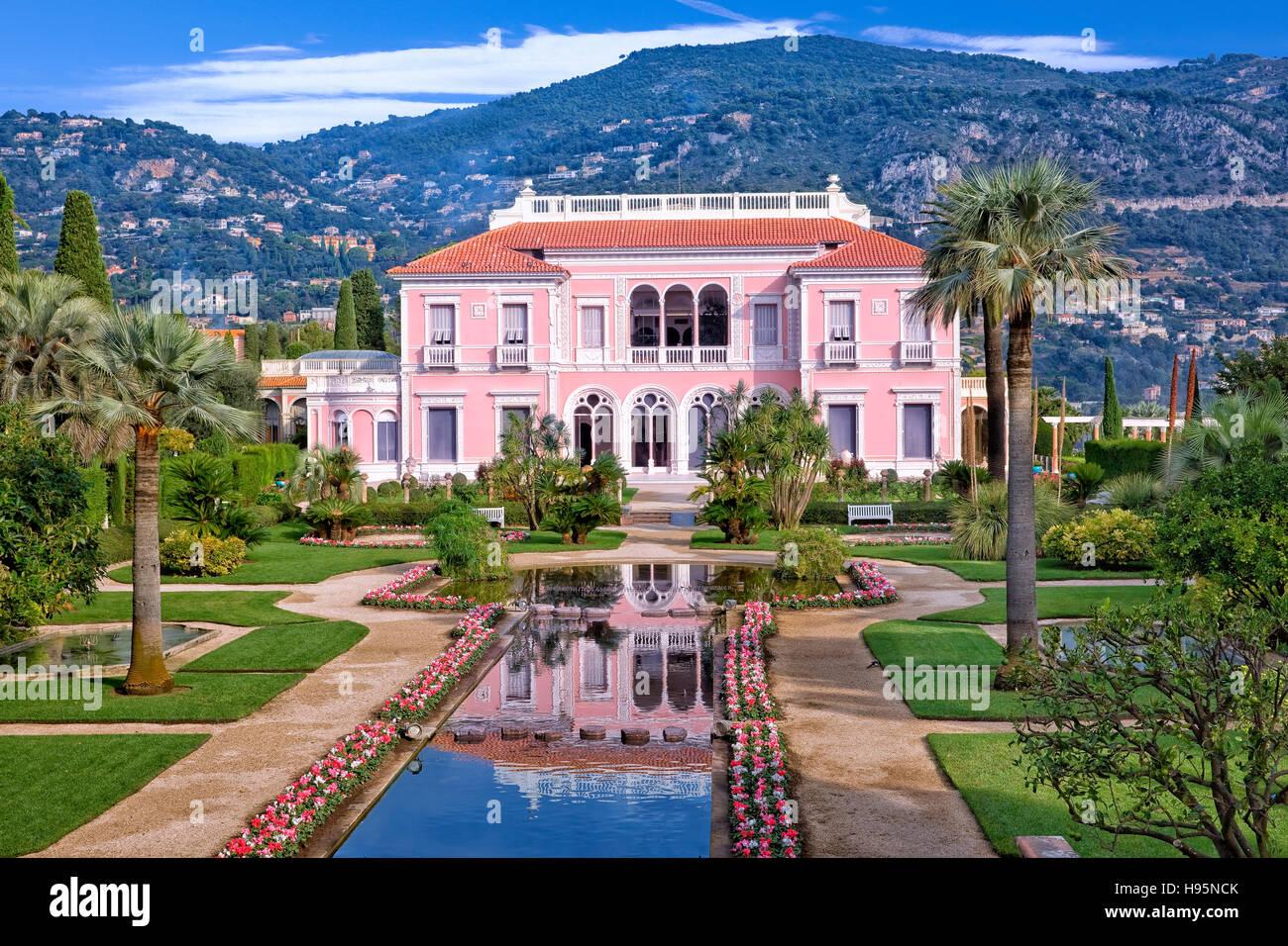 Villa Ephrussi de Rothschild in St Jean Cap Ferrat, France - Stock Image