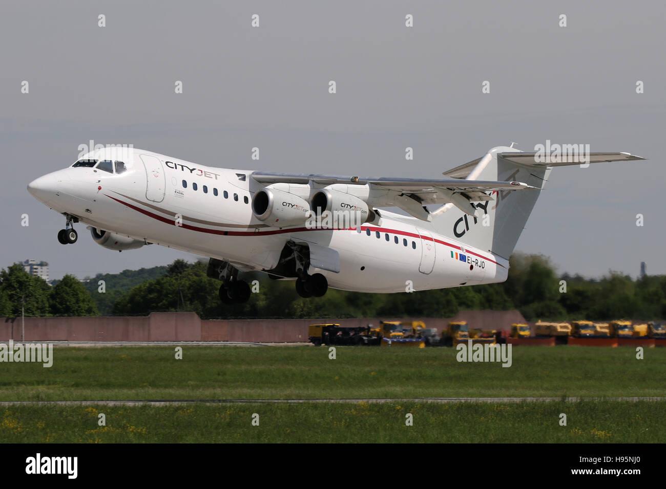 Stuttgart, Germany – May 21, 2016: Cityjet, BAE Avro is taking offat Stuttgart Airport - Stock Image