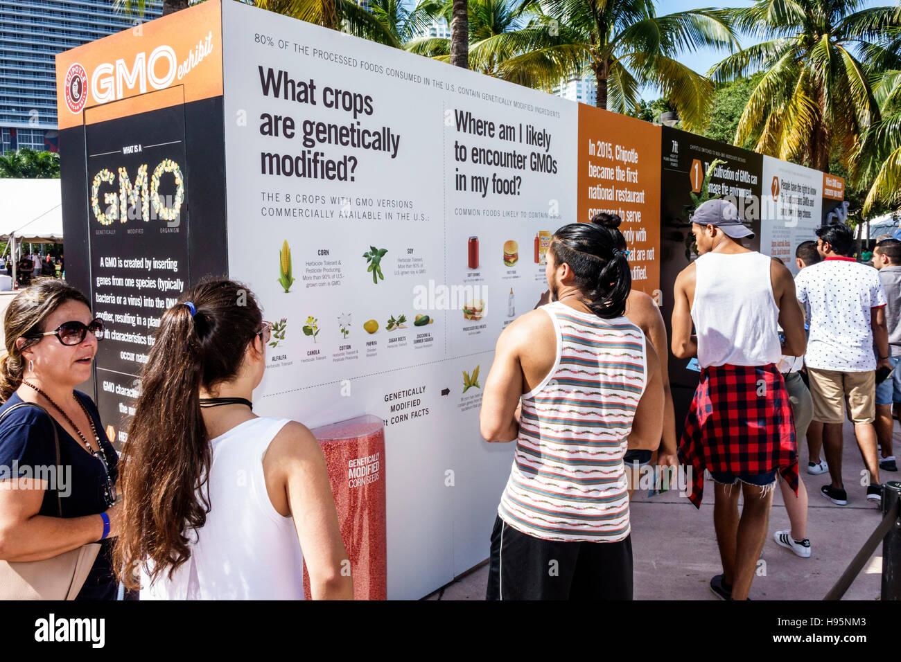 Miami Florida Bayfront Park Chipotle Cultivate Festival GMO exhibit genetically modified - Stock Image