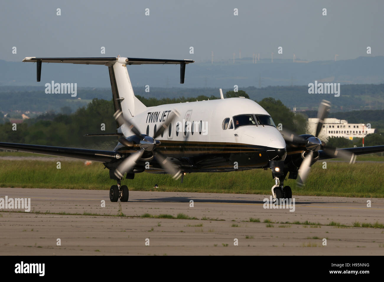 Stuttgart, Germany – May 26, 2016: Twin Jet, Beech 1900D Airliner, at Stuttgart Airport - Stock Image