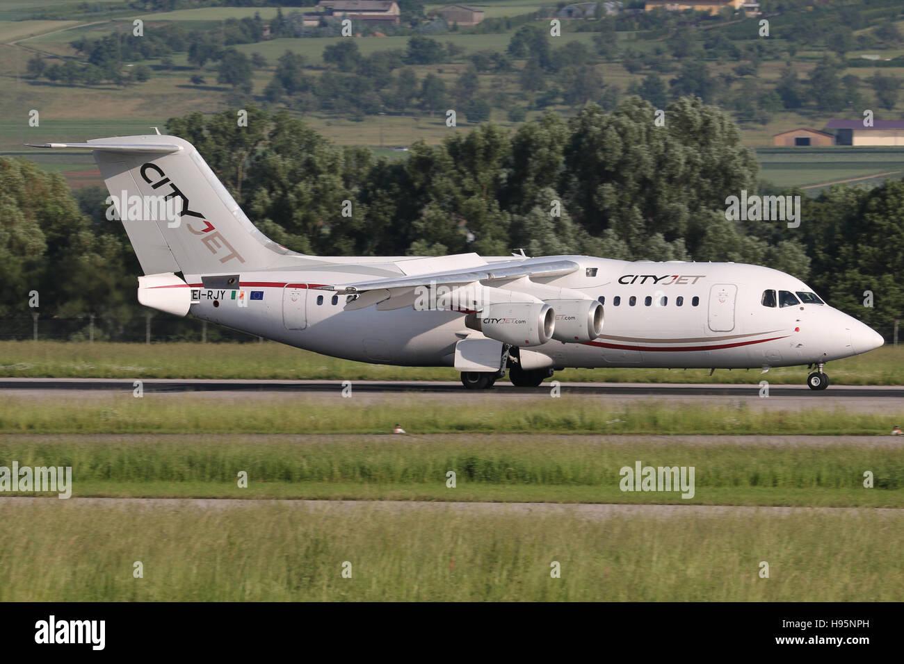 Stuttgart, Germany – June 09, 2016: Cityjet, BAE Avro is landing at Stuttgart Airport - Stock Image