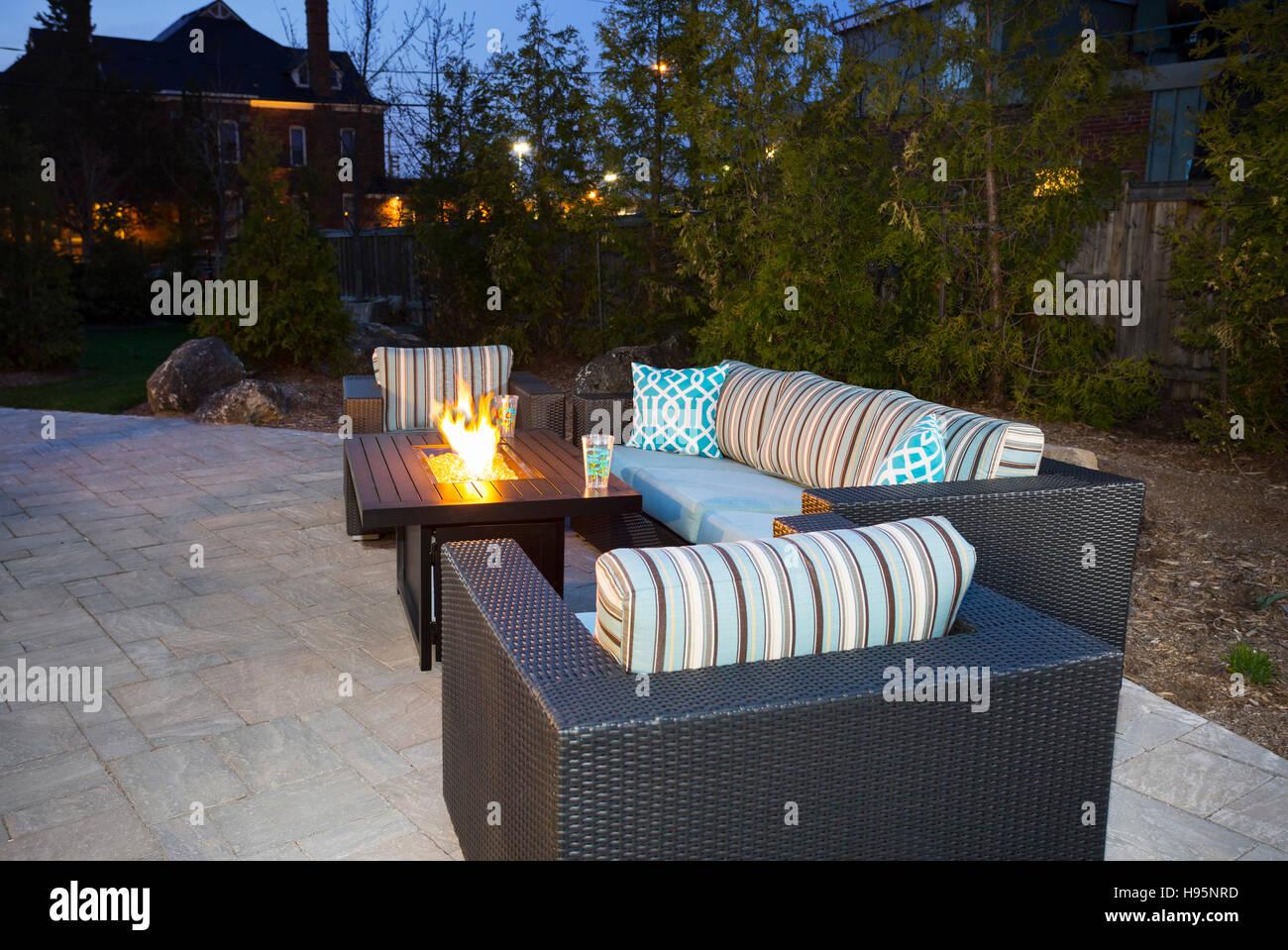 backyard patio landscaping, Ontario, Canada - Stock Image