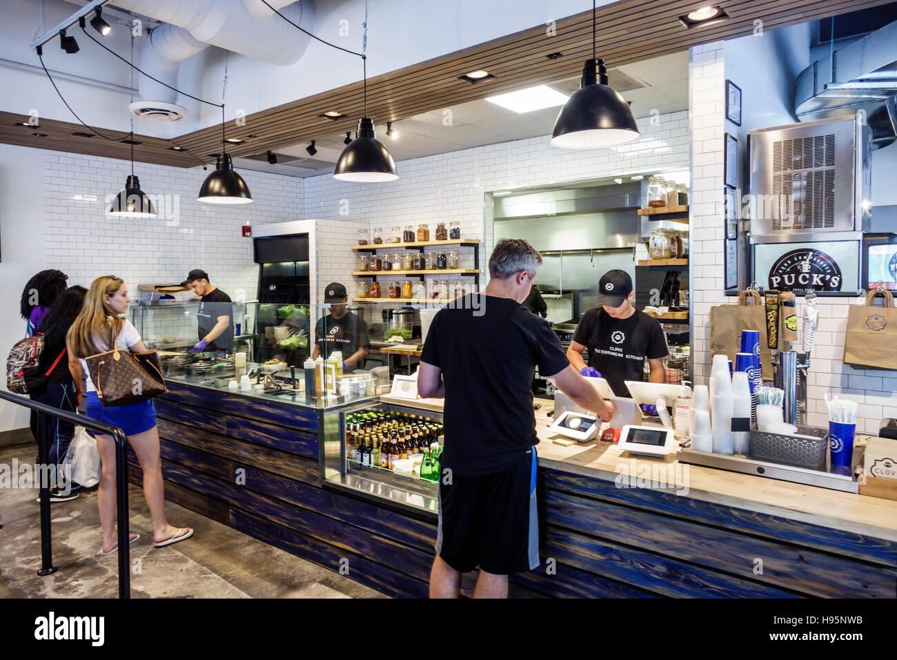 miami florida clove mediterranean kitchen restaurant counter customers stock image - Mediterranean Kitchen