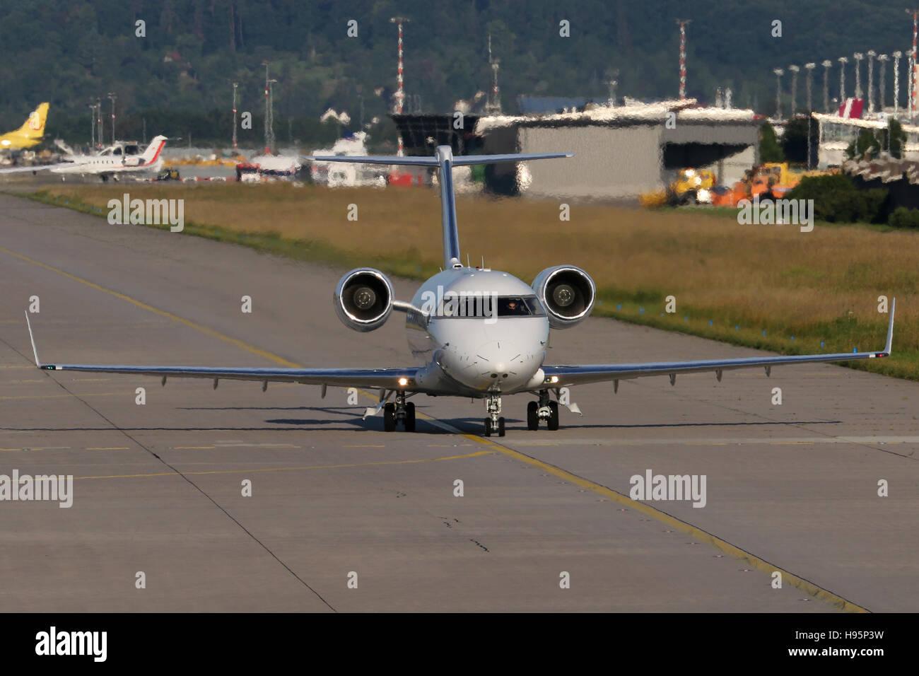 Stuttgart, Germany – June 27, 2016: Private, Canadair CL-600-2B16 Challenger 605 at Stuttgart Airport - Stock Image