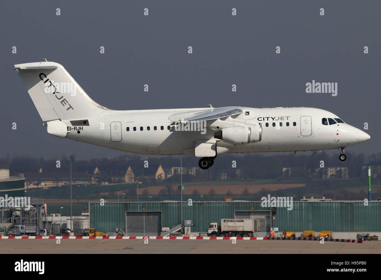 Stuttgart, Germany – April 11, 2016: Cityjet, BAE Avro is landing at Stuttgart Airport - Stock Image