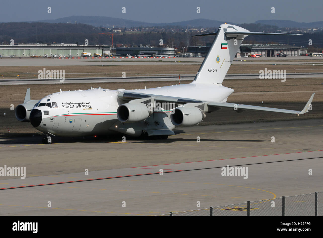 Stuttgart, Germany – March 14, 2016: Kuwait Air Force, Boeing C17 Globemaster at Stuttgart Airport - Stock Image
