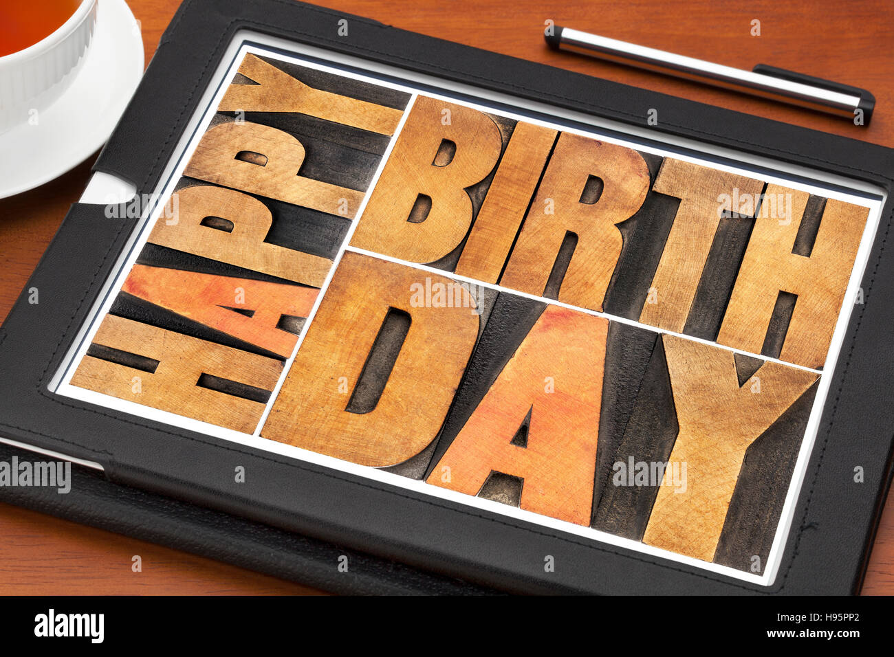 Happy Birthday Greeting Card Word Abstract In Letterpress Wood