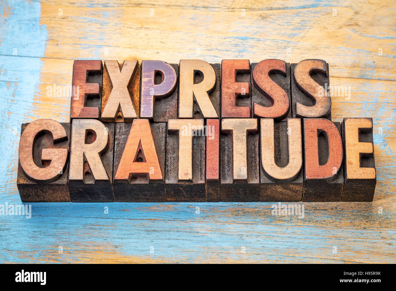 express gratitude word abstract  in vintage letterpress wood type - Stock Image