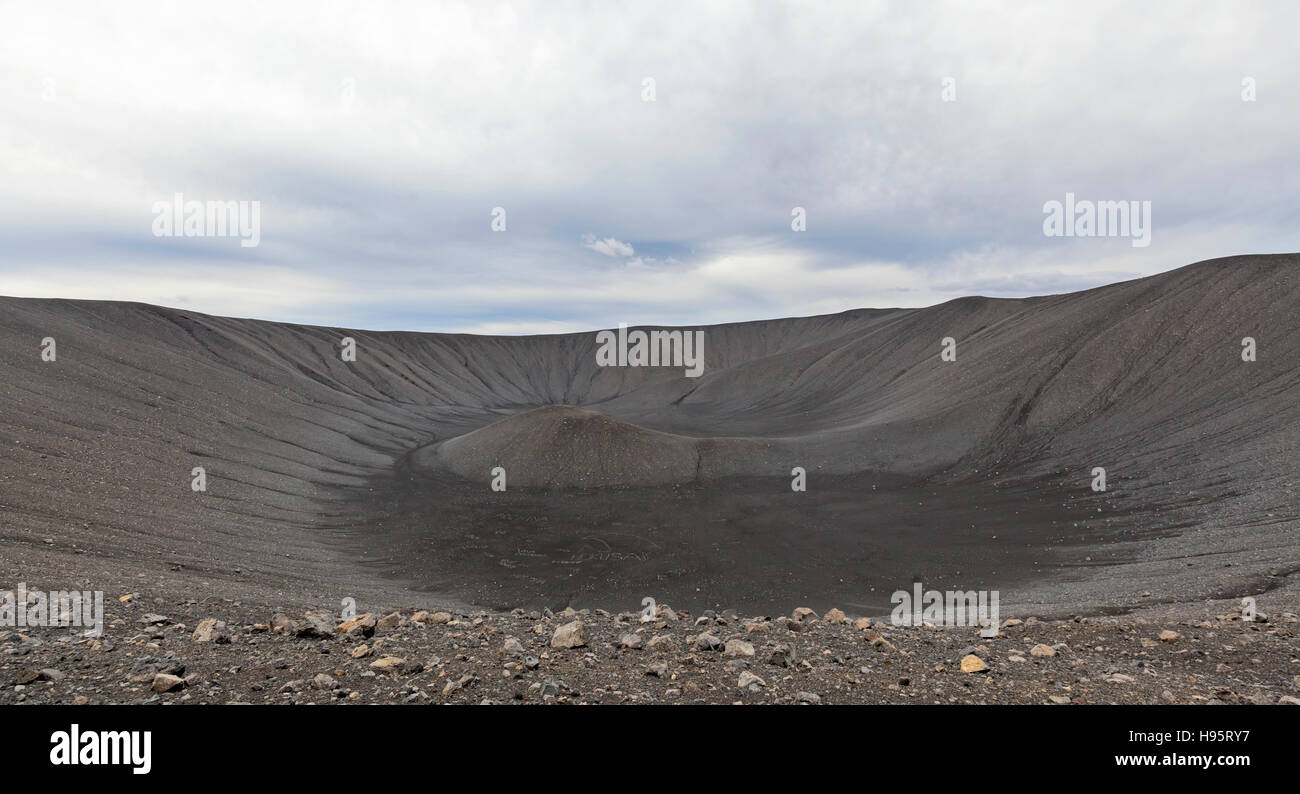 A view of the Hverfjall Volcanic Crater in Iceland. - Stock Image