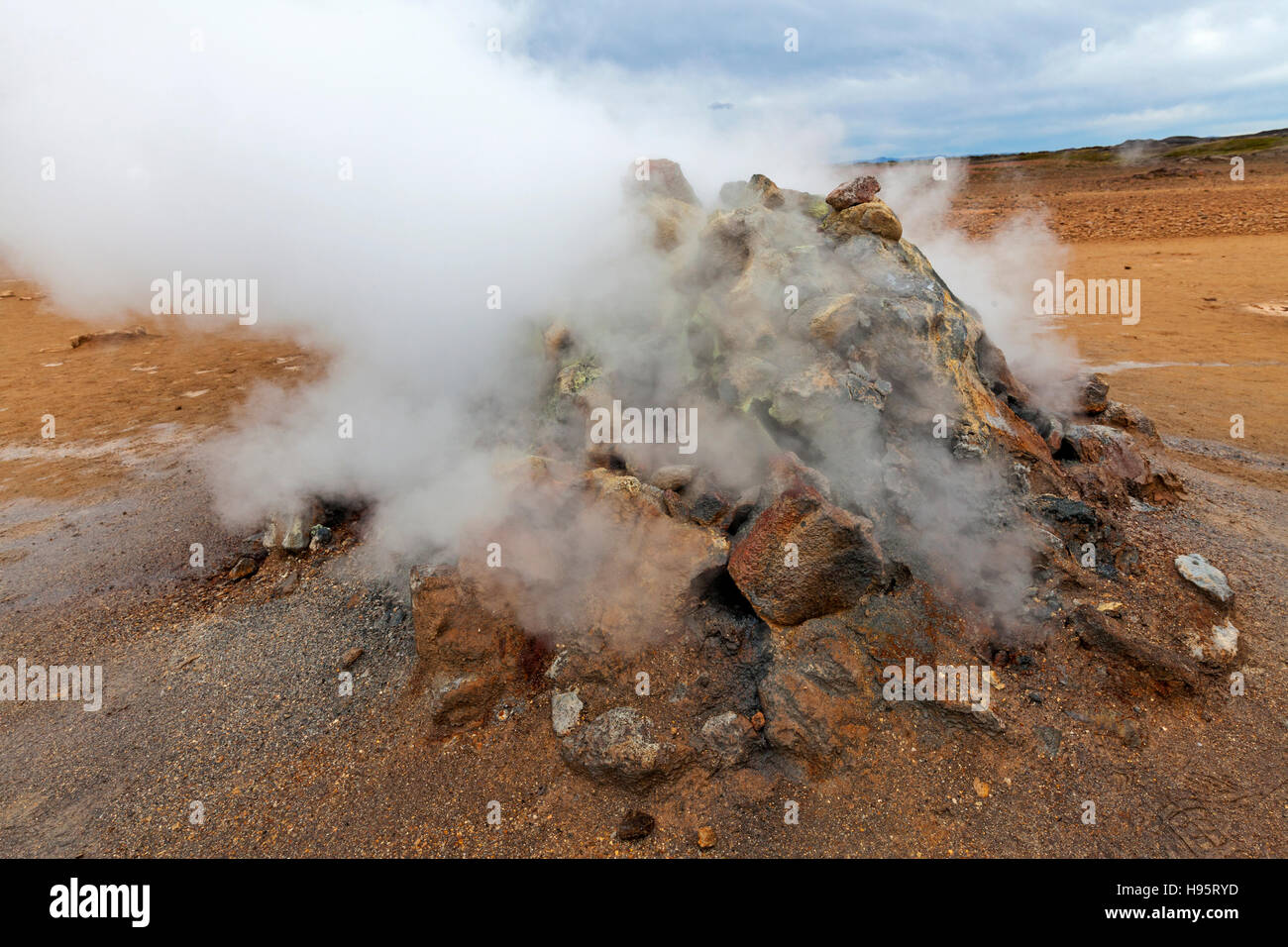 A view of the Hverir Geothermal Field by Mt. Namafjall next to Lake Myvatn, Iceland. Stock Photo