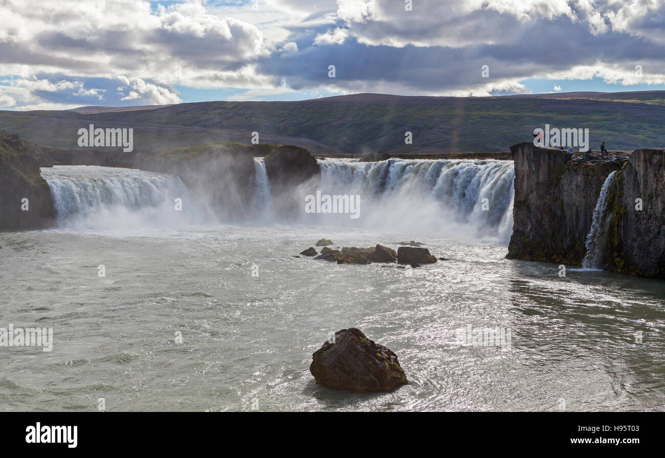 A view of the Godafoss Waterfall in Iceland. - Stock Image