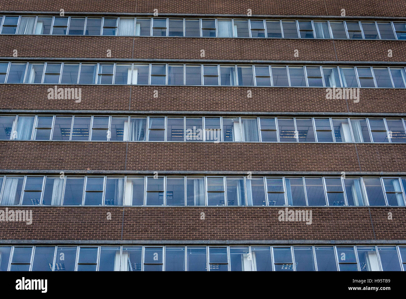 The rear of Crown House which comprises a nine storey purpose built office block constructed in the 1970s. - Stock Image