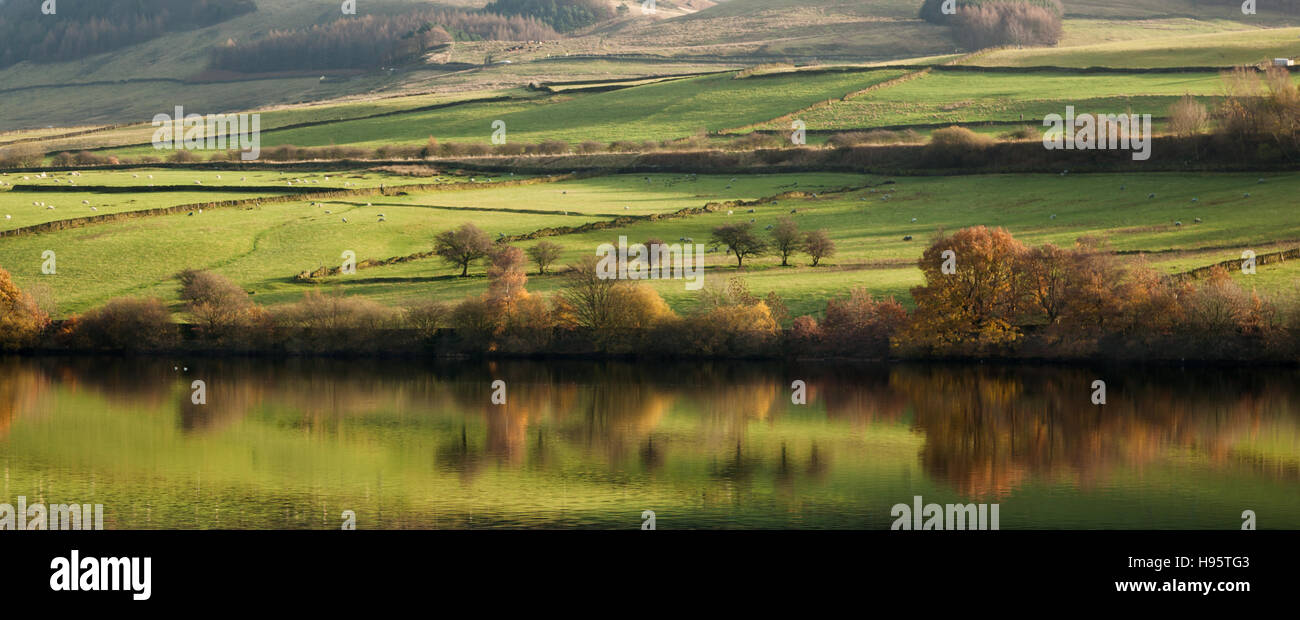 The Peak District is an upland area in England where most of the moorland is found. - Stock Image