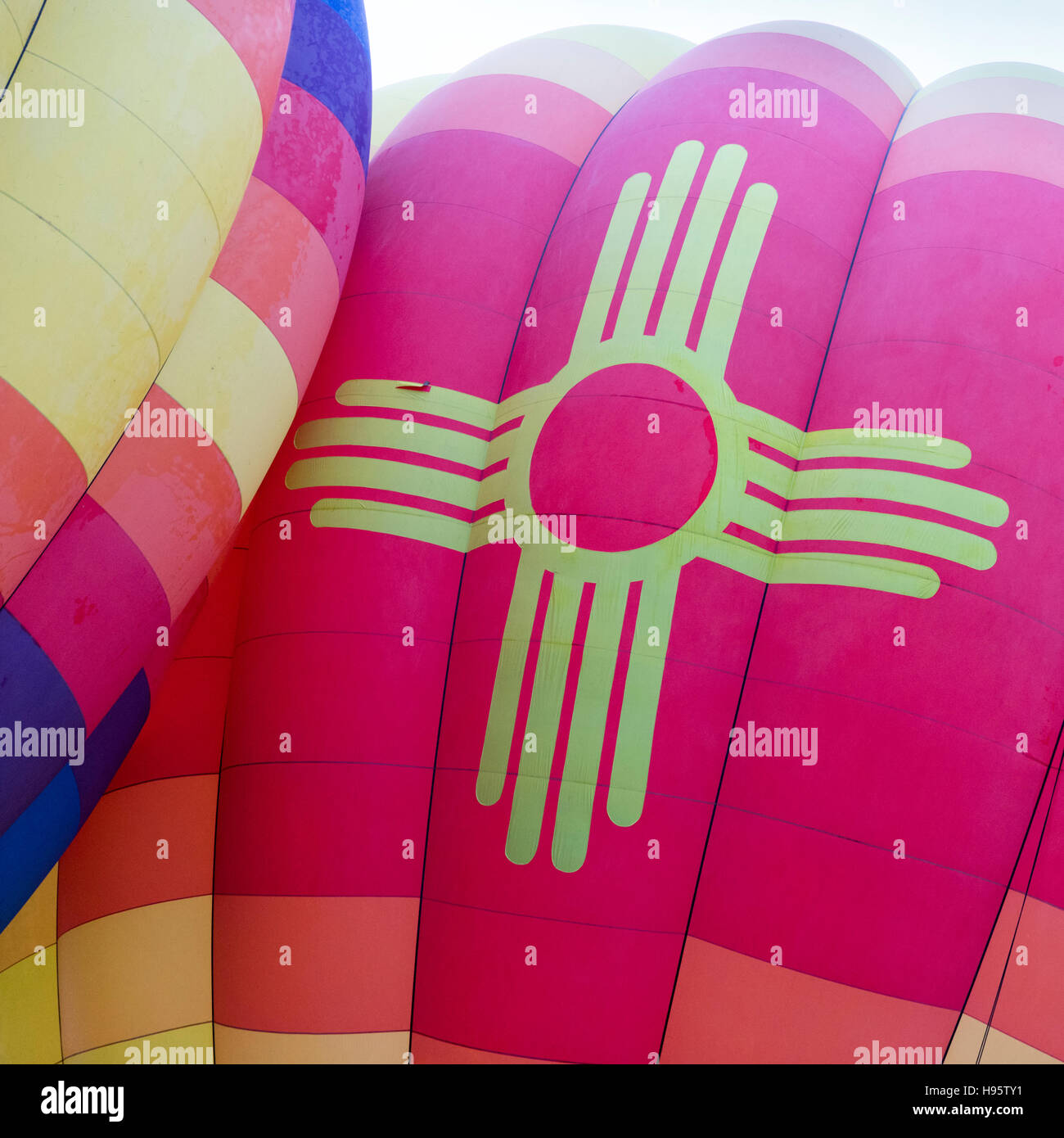 Hot air balloons being inflated before mass ascension at Albuquerque International Balloon Fiesta, New Mexico Stock Photo