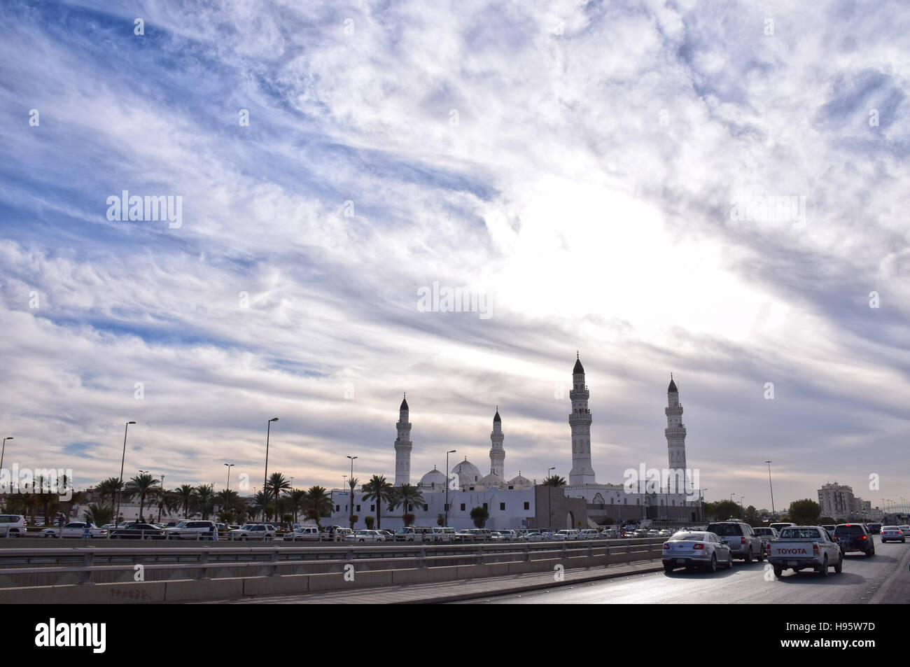 Quba Mosque from Al-Hijrah Street - Stock Image