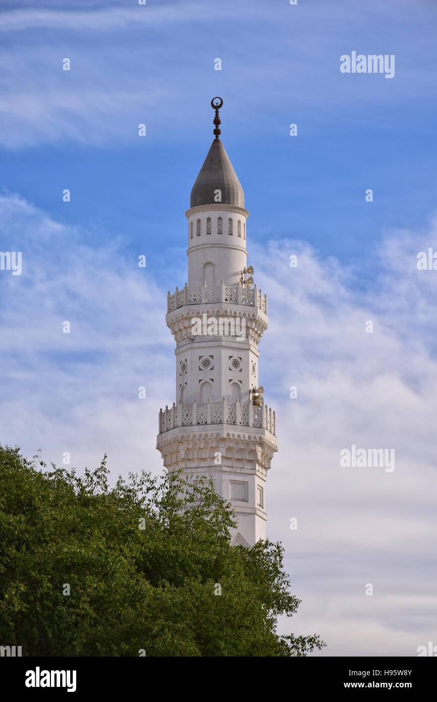 One of Quba Mosque's Minaret - Stock Image