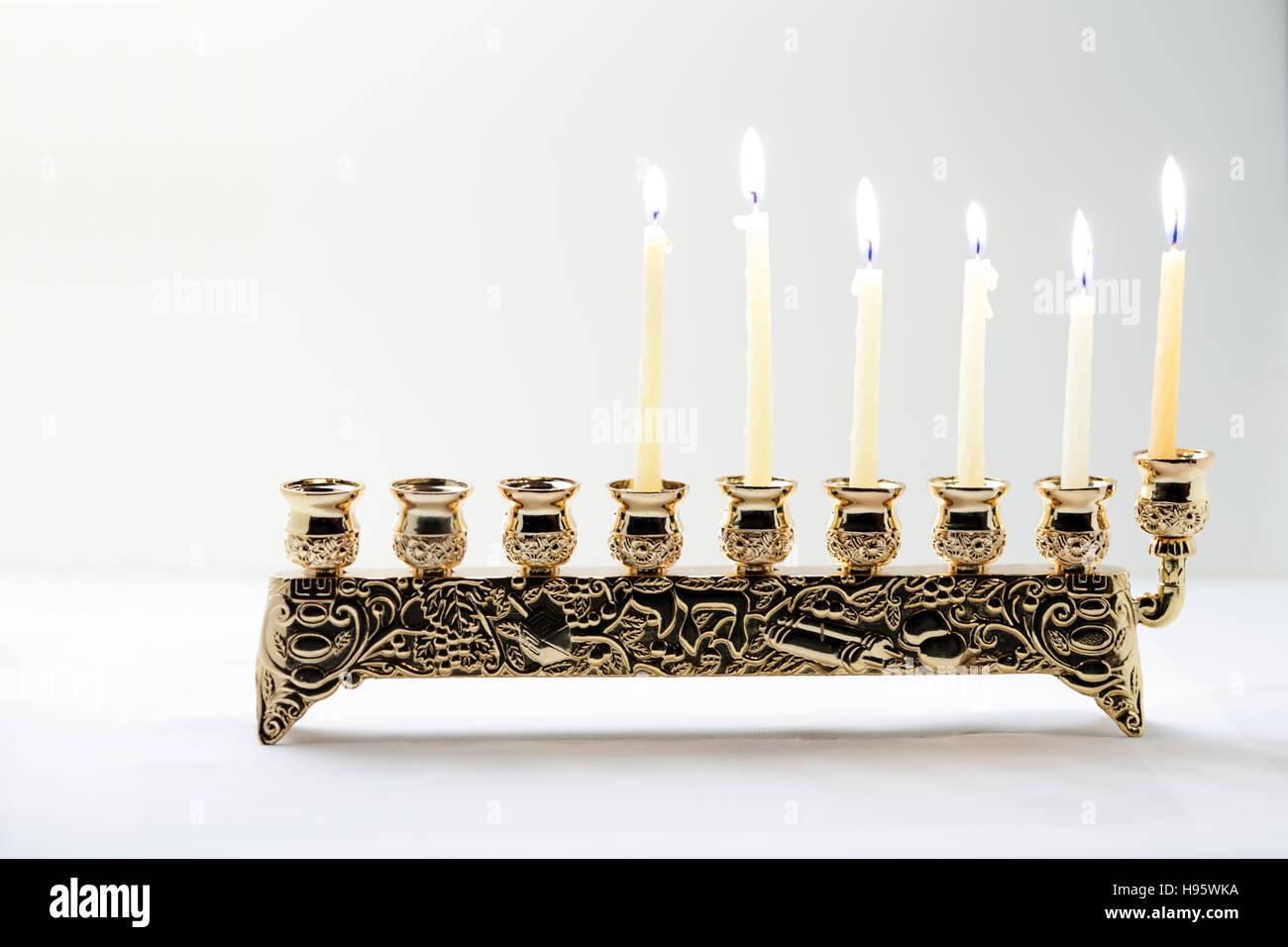 The Symbols Of Hanukkah Nine Branched Menorah Hanukiah Stock Photo