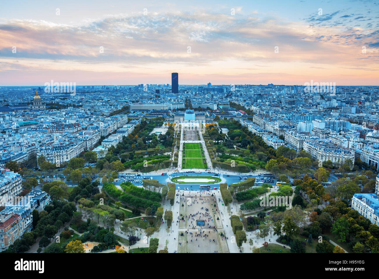 view from Eiffel Tower over Champs de Mars at dusk, Paris, France Stock Photo