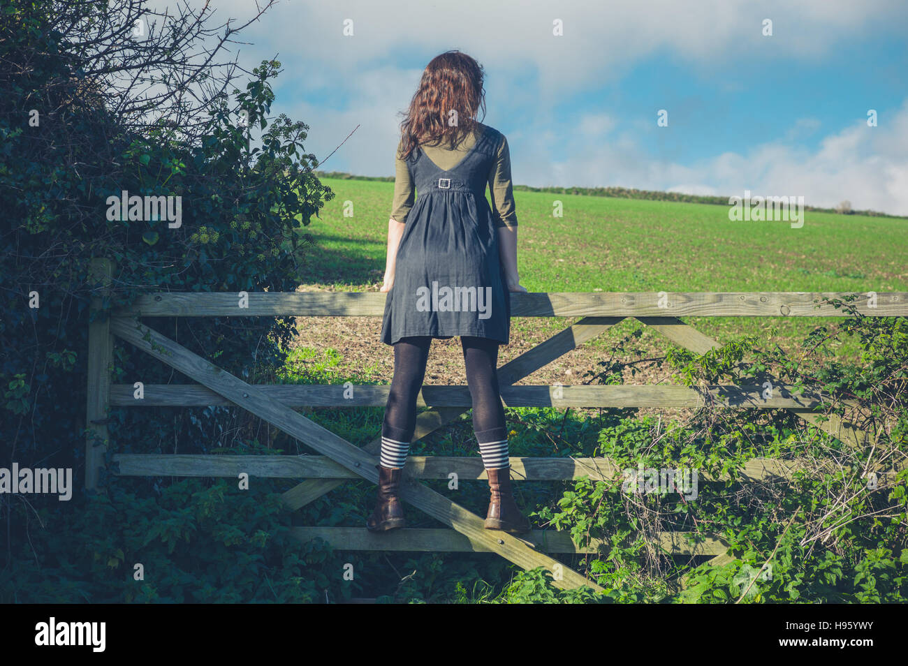A young woman is standing on a gate in the countryside and is looking at the landscape on a sunny day - Stock Image