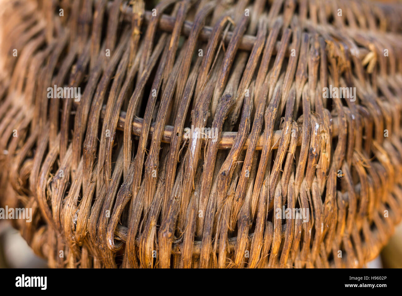 Basket Of Wicker Or Rattan Or Bamboo Material For Texture Or Stock