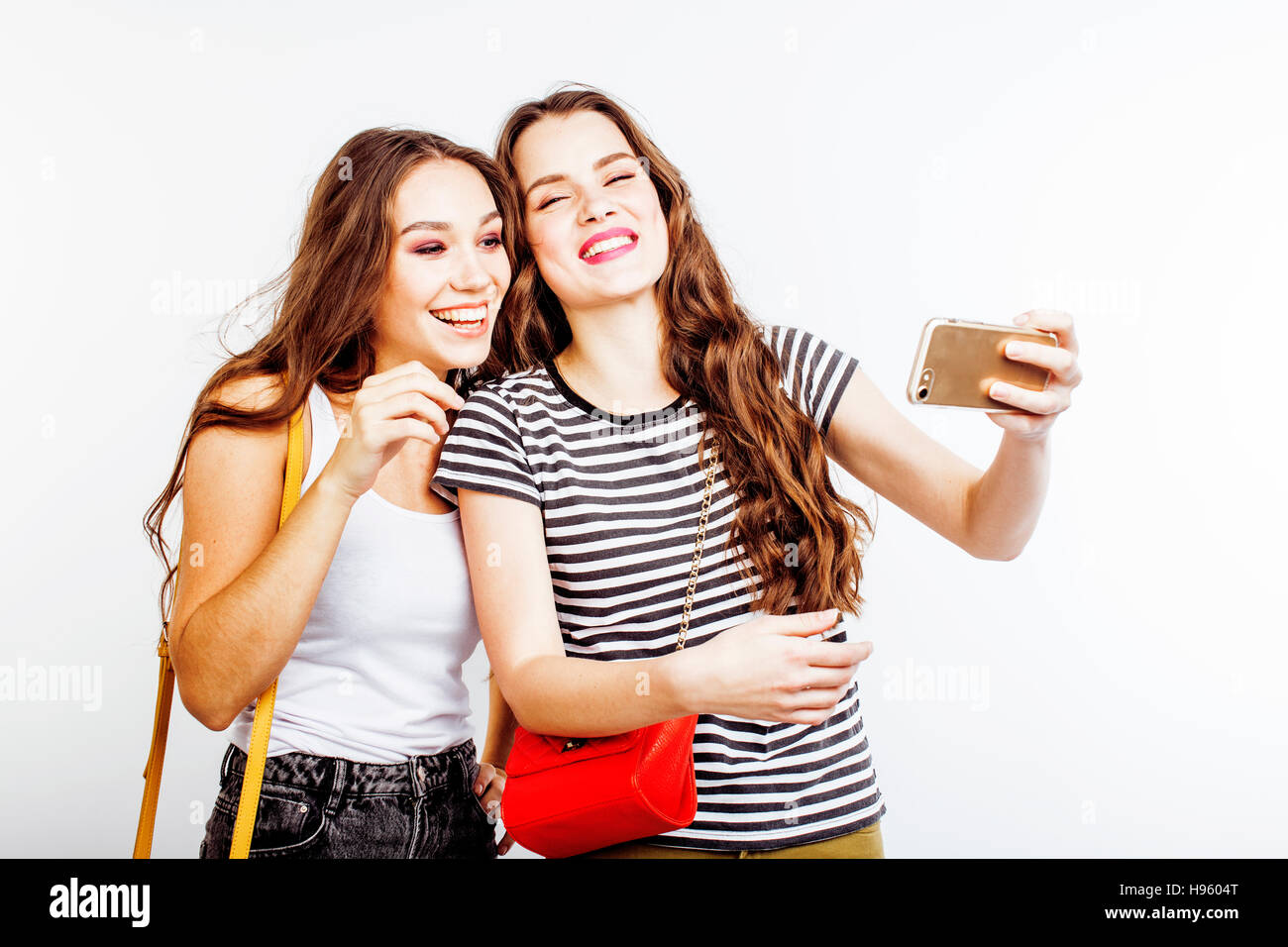 Two Best Friends Teenage Girls Together Having Fun Posing Emotional