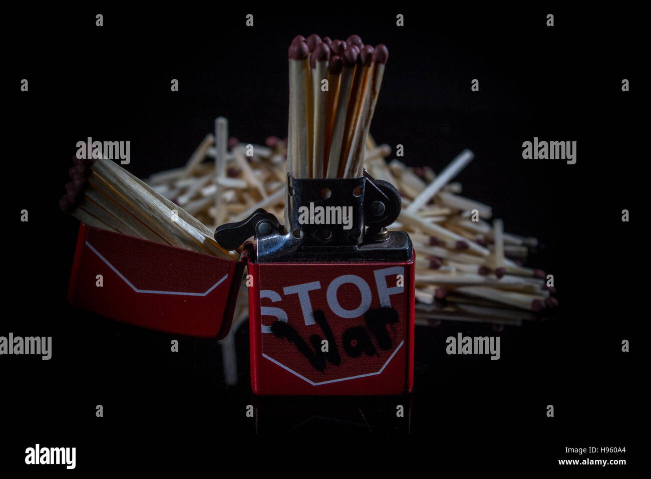 'Stop War' Zippo Lighter with Matches - Stock Image