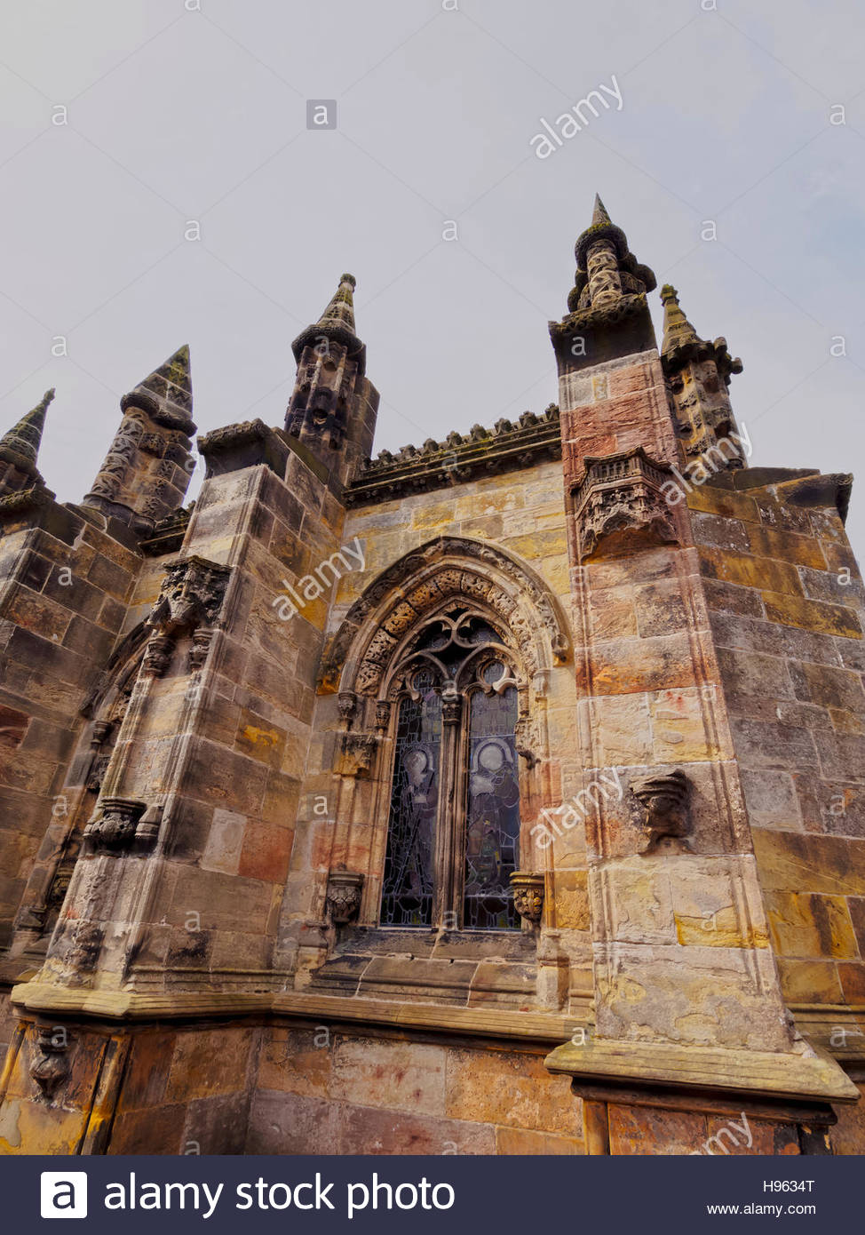 UK, Scotland, Midothian, Edinburgh Area, Roslin, View of the Rosslyn Chapel. - Stock Image