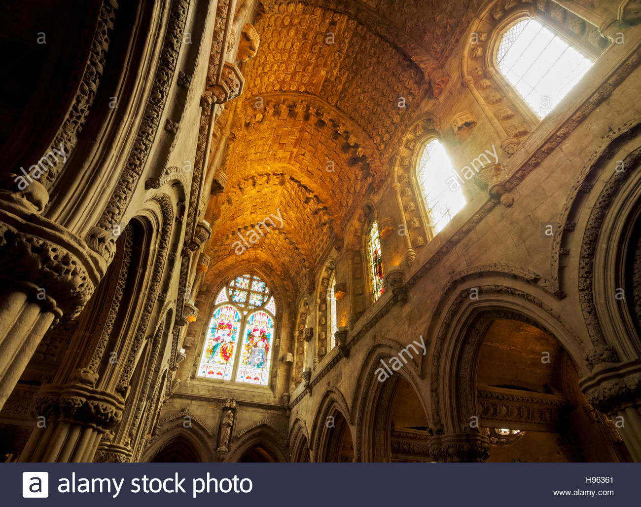 UK, Scotland, Midothian, Edinburgh Area, Roslin, interior view of the Rosslyn Chapel. - Stock Image