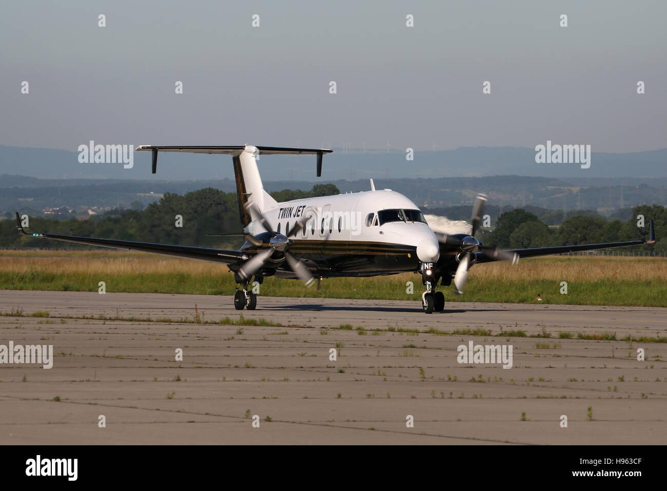 Stuttgart, Germany – June 23, 2016: Twin Jet, Beech 1900D Airliner, at Stuttgart Airport - Stock Image