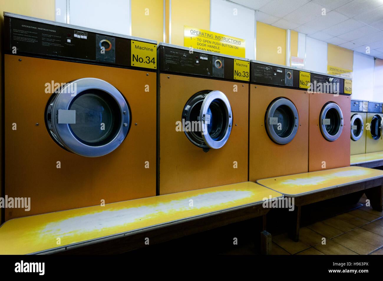 Laundrette, washing, drying machines - Stock Image