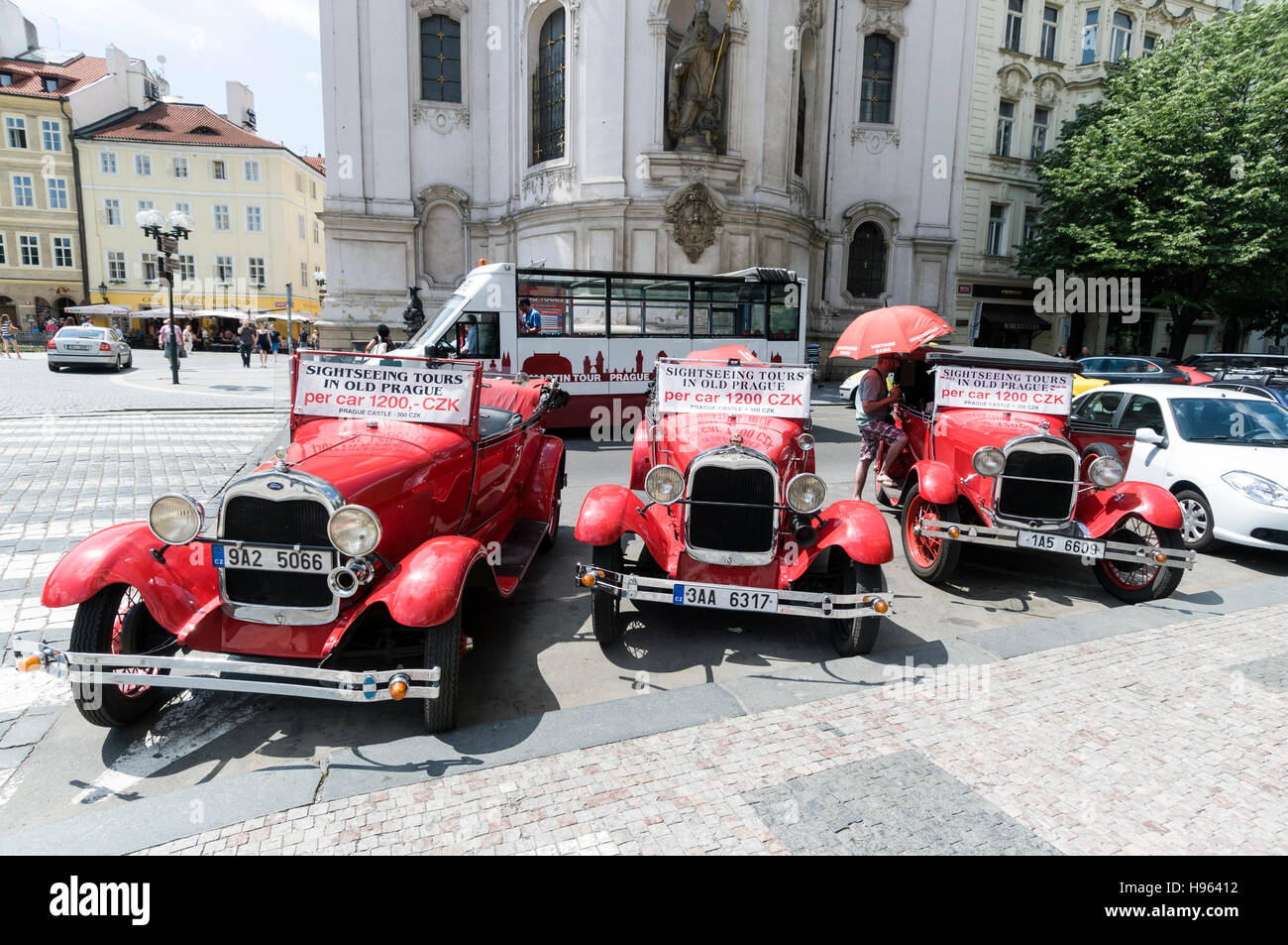A fleet of classic cars on hire for tourist city sightseeing tours ...
