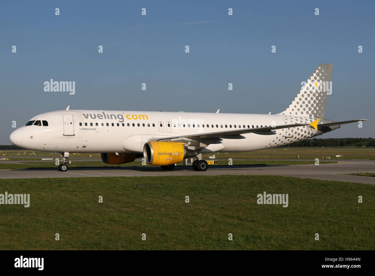 Munich, Germany - August 08, 2016: Vueling, Airbus A320 at Munich Airport - Stock Image
