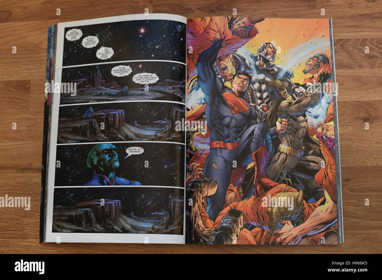 An open section of a Justice League comic. DC Comics - Stock Image