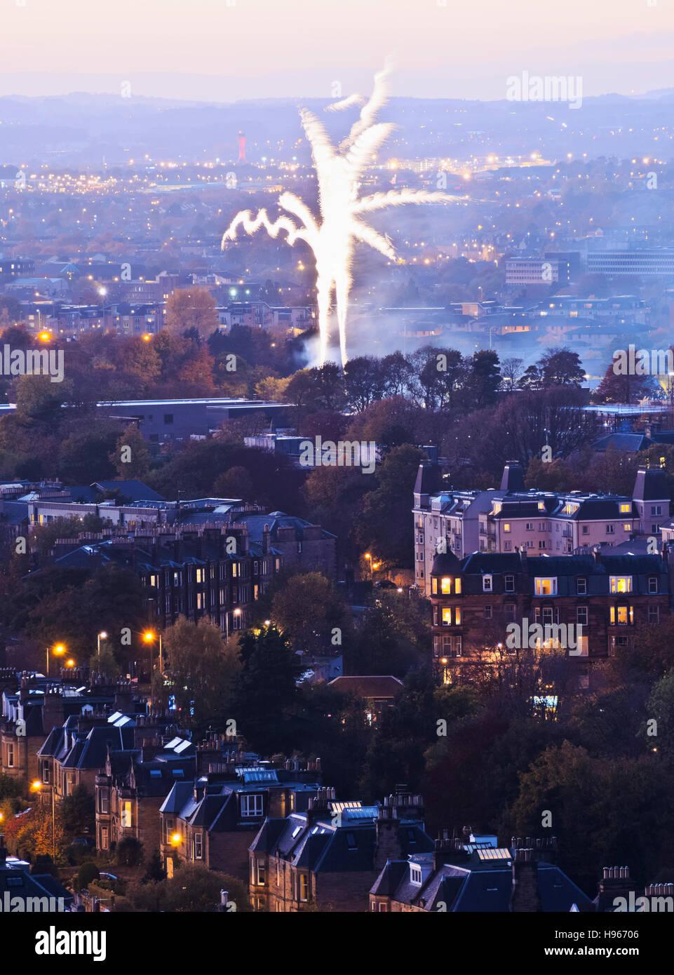 UK, Scotland, Edinburgh, Fireworks over the Morningside Neighbourhood viewed from the Blackford Hill. - Stock Image