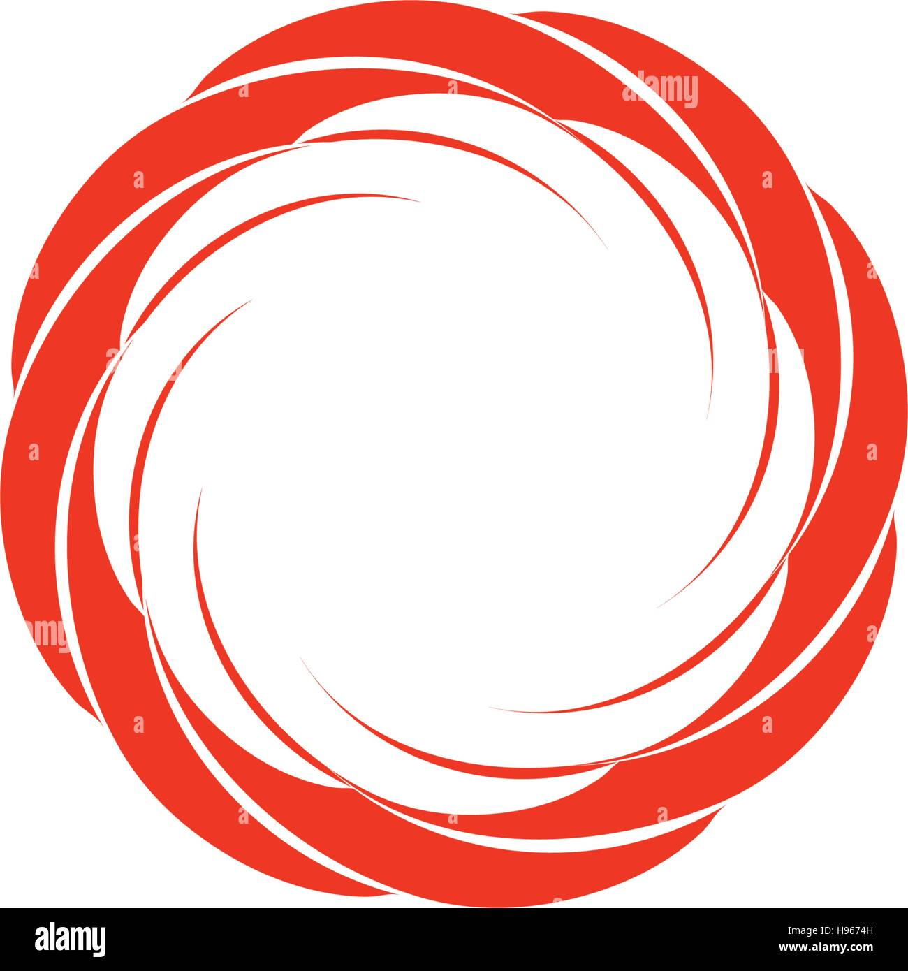 Isolated abstract red color circular sun logo. Round shape logotype. Swirl, tornado and hurricane icon. Spining hypnotic spiral sign. Photo lens symbol. Vector wheel illustration. Stock Vector
