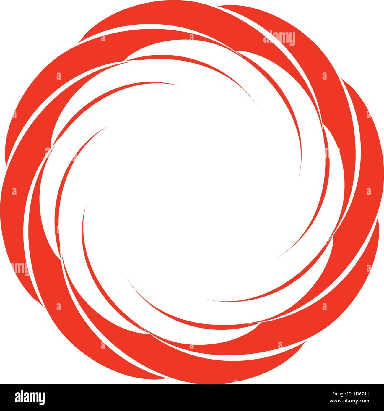 Round shape logotype. Swirl, tornado and hurricane icon. Spining hypnotic  spiral sign. Photo lens symbol. Vector wheel illustration.