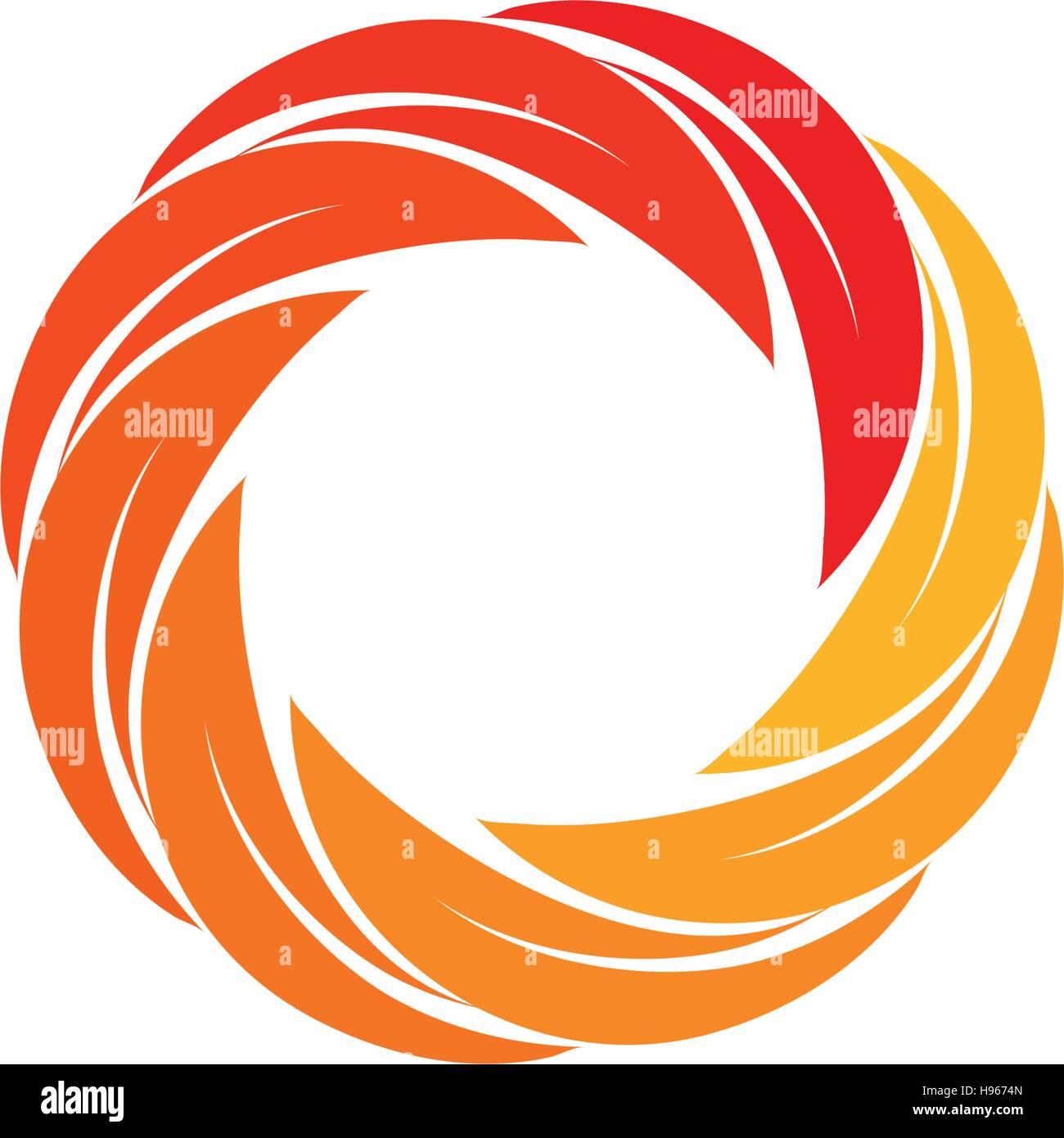 isolated abstract red orange yellow circular sun logo round shape