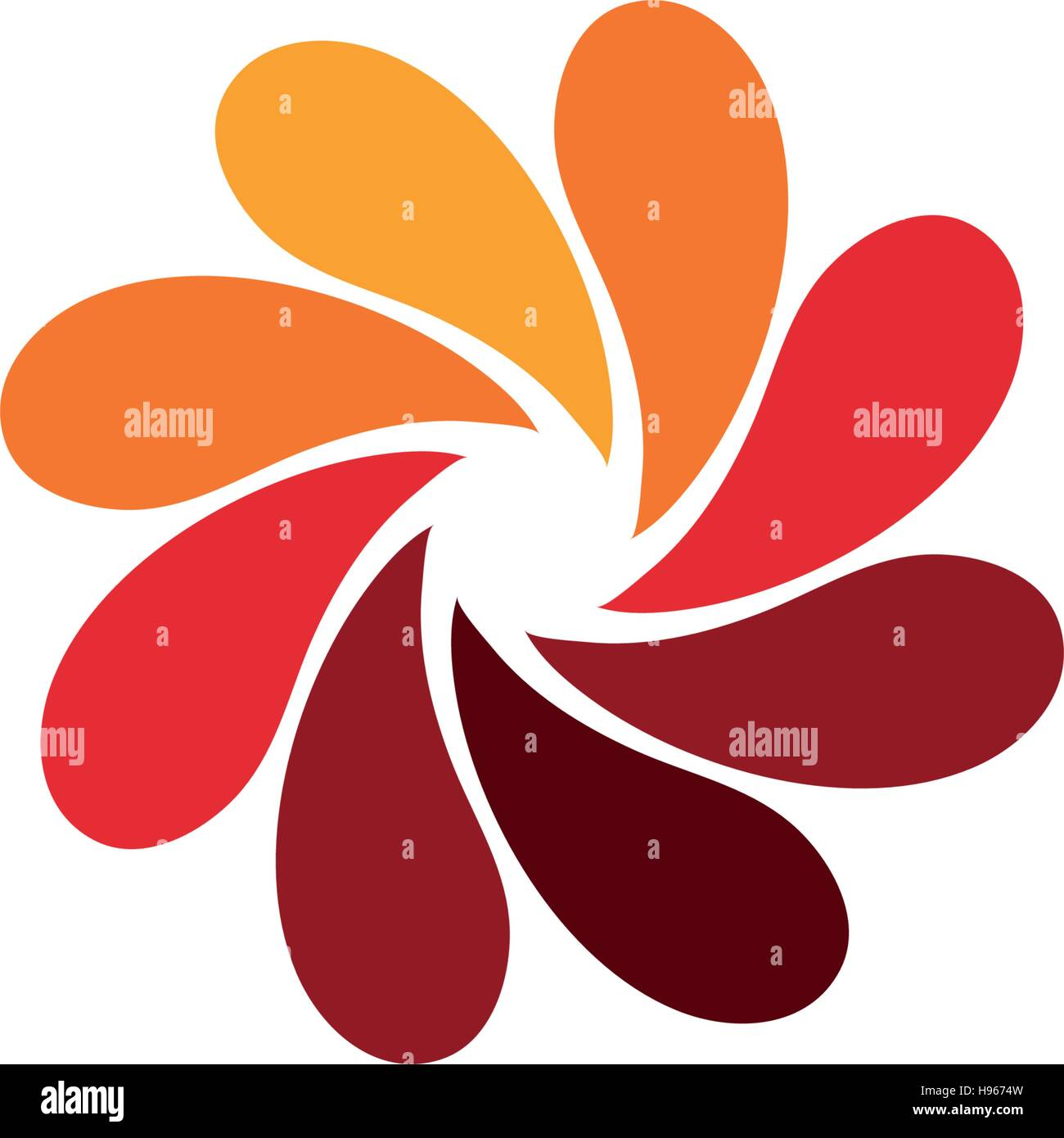 isolated abstract red flower logo spiral floral petals logotype