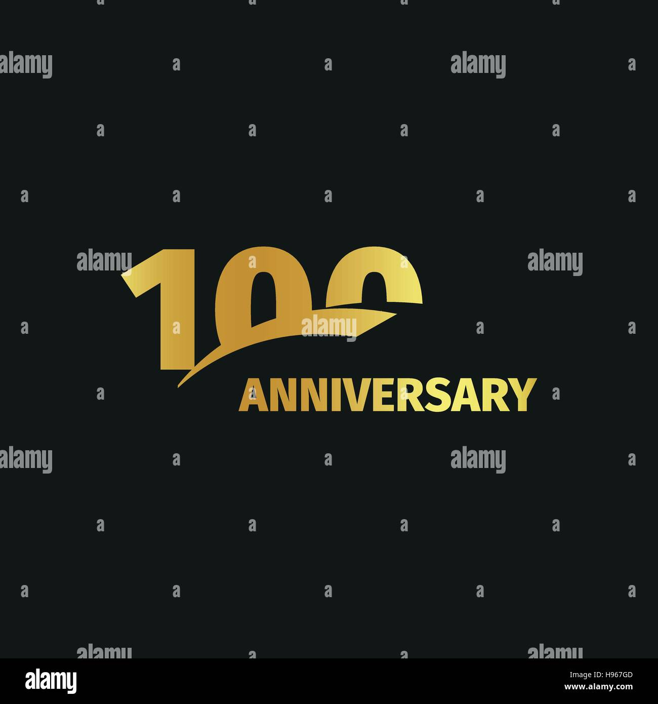 Isolated abstract golden 100th anniversary logo on black background. 100 number logotype. One hundred years jubilee - Stock Vector