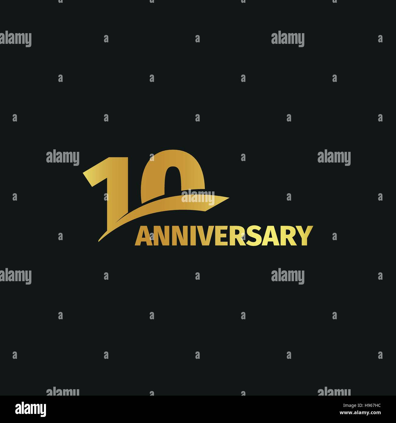Isolated abstract golden 10th anniversary logo on black background. 10 number logotype. Ten years jubilee celebration - Stock Vector