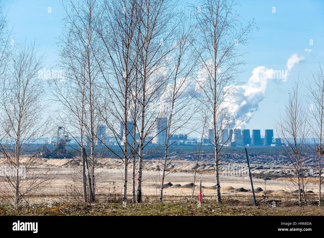 Nochten open-cast coal mine and Boxberg power plant, Görlitz district, Saxony, Germany, Europe Stock Photo
