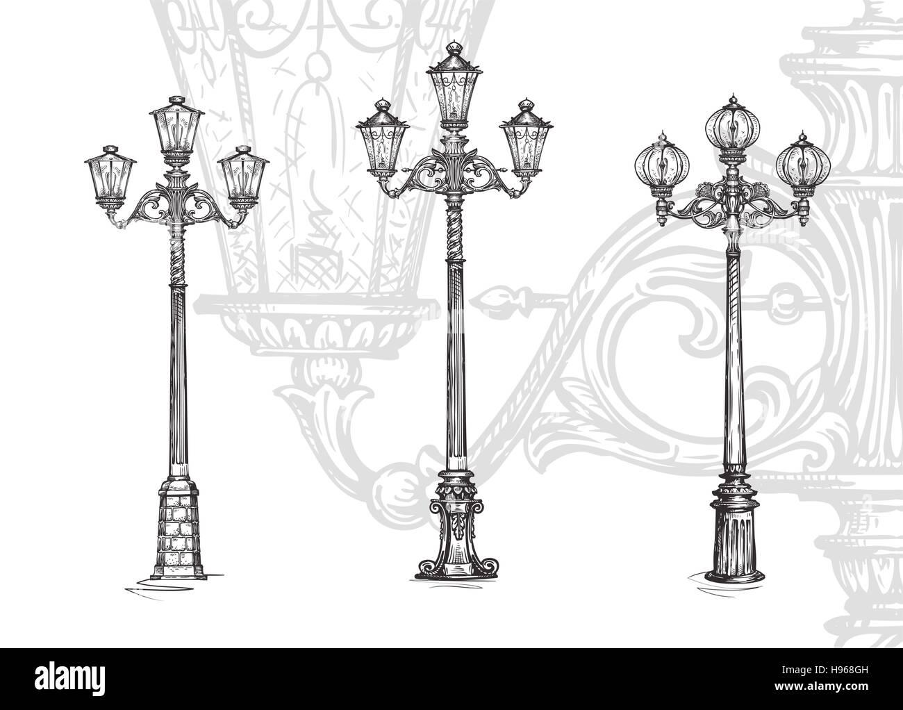 Lamppost or street lamp. Sketch vector illustration Stock Vector