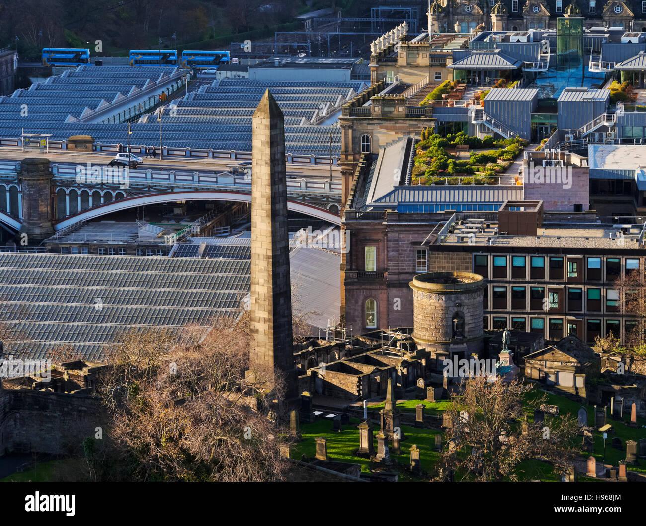 UK, Scotland, Lothian, Edinburgh, Calton Hill, View from the Nelson Monument towards the Old Calton Burial Ground. Stock Photo