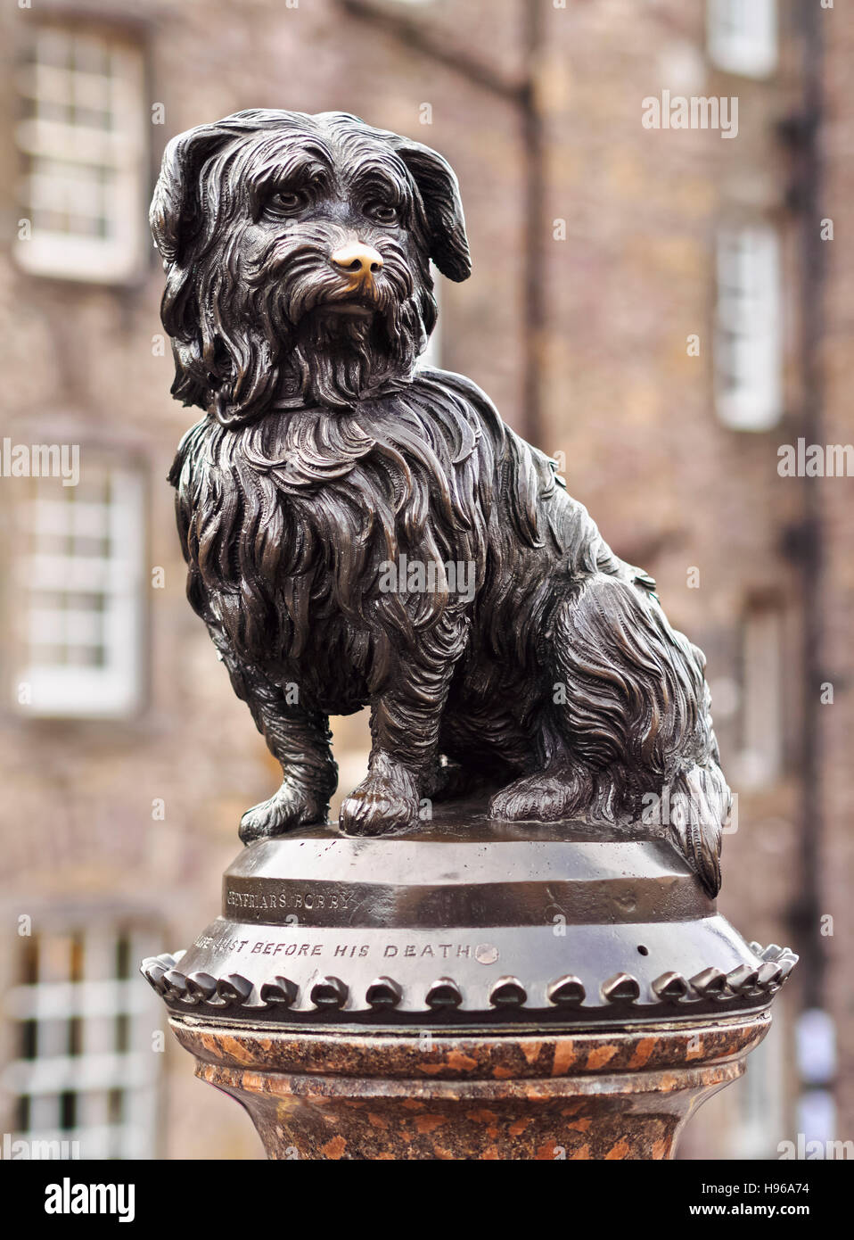 UK, Scotland, Lothian, Edinburgh, Corner of Candlemaker Row and George IV Bridge, Statue of Bobby. Stock Photo