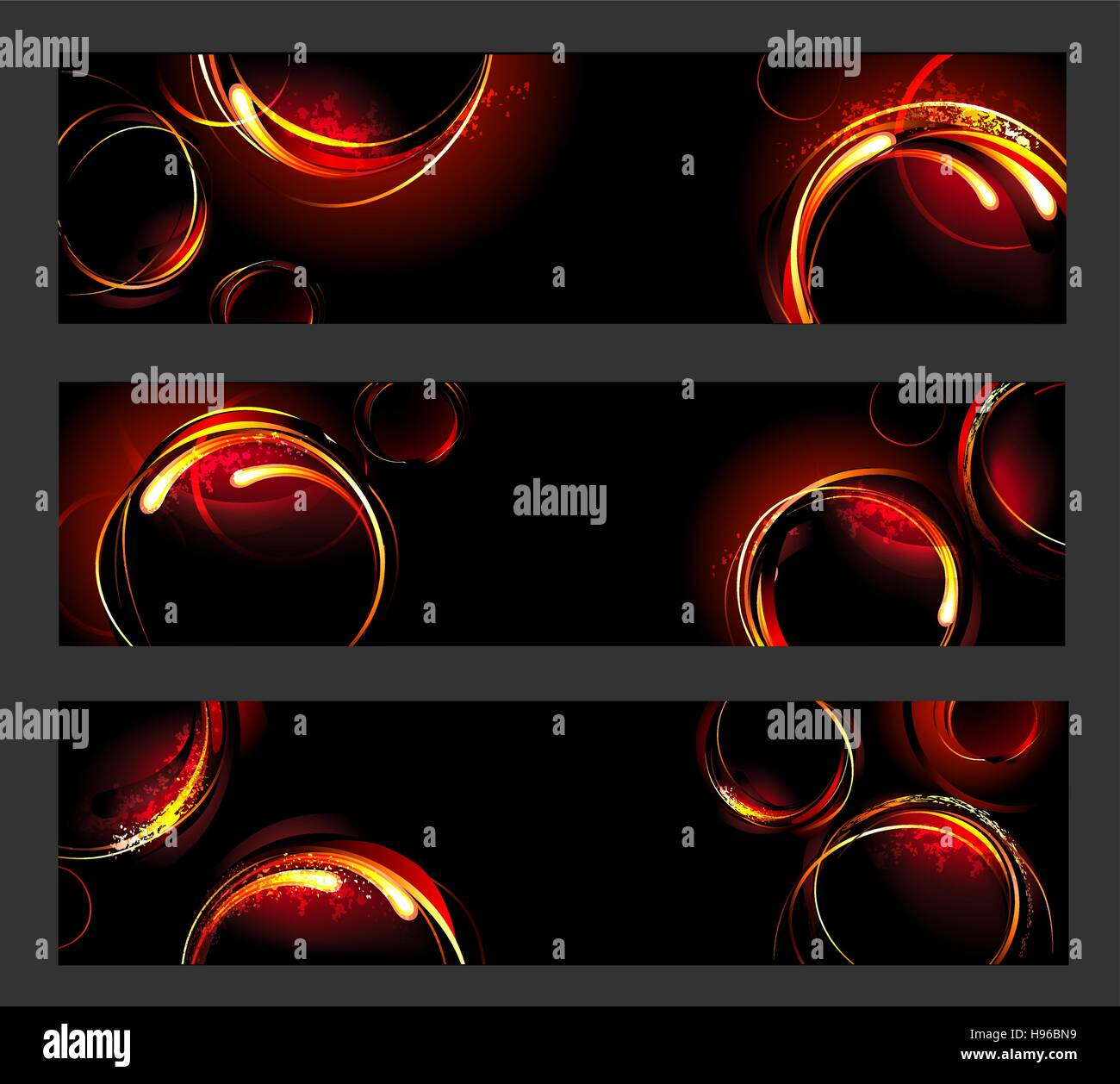 three banners with fiery , hot circles on a black background - Stock Image