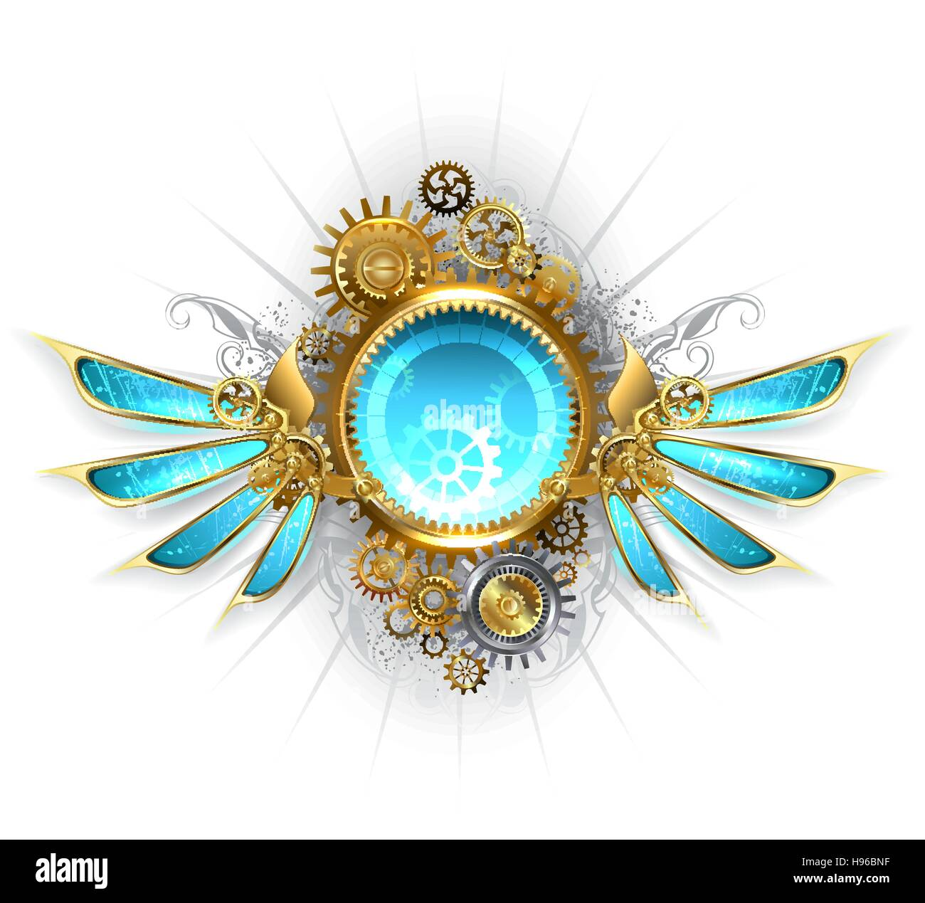 round banner with gold and brass gears, decorated with blue glass mechanical wings on a white background - Stock Image
