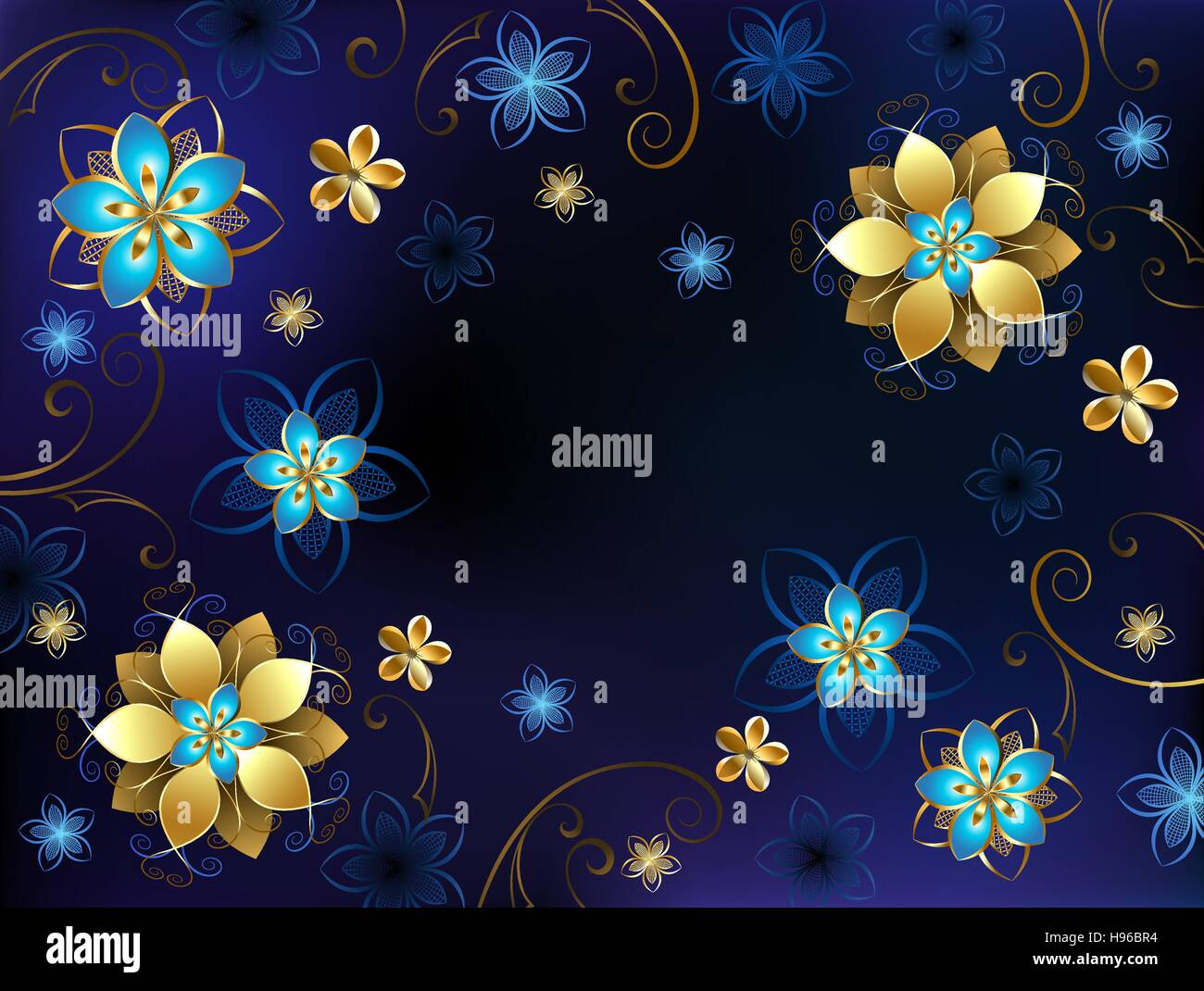 Blue Background With Gold Jewelry And Flowers