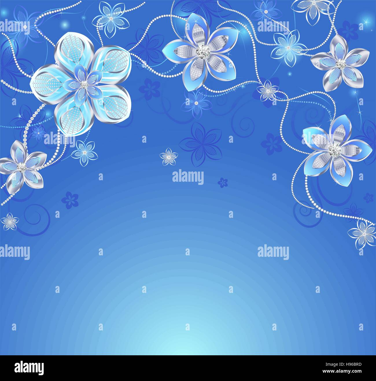 Glowing Blue Background With Silver Colors Adorned Reticulated Pattern And Diamonds